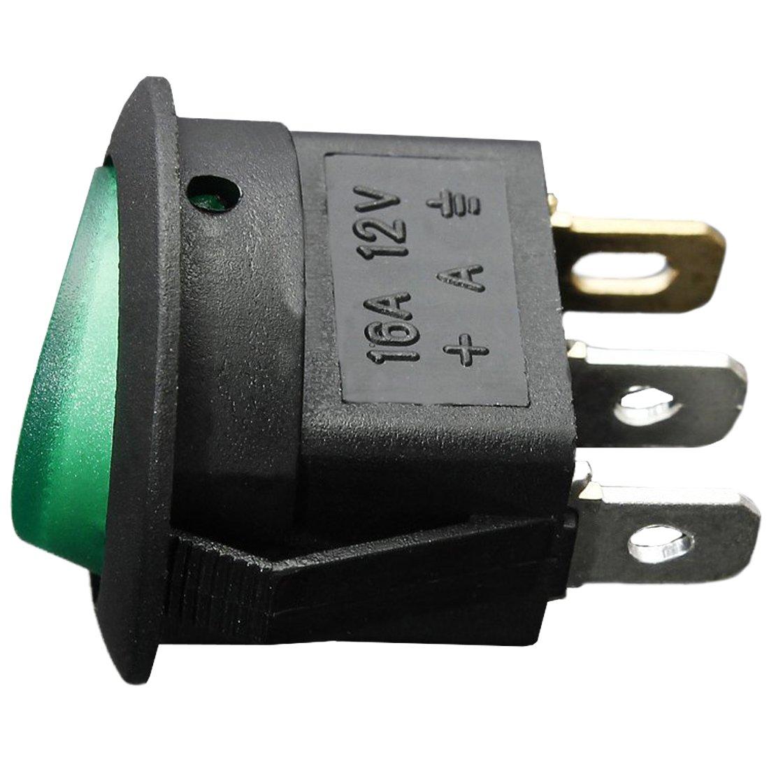 Cikuso 12V 16A LED Interruptor basculante Bipolar ON//Off SPST para Auto Moto Barco Azul