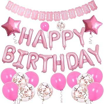 MUXItrade Decoración de cumpleaños,Globos Cumpleaños Happy Birthday Banner Globos de Papel de Aluminio de Corazón Globos de Látex para Fiesta de ...