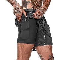 XDSP Pantalón Corto para Hombre,Pantalones Cortos Deportivos para Correr 2 en 1 con Compresión Interna y Bolsillo para…