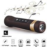 4 in 1 bluetooth スピーカー ブルートゥース 無線 小型 音響2600mah充電式 バッテリー バンク USB 携帯 電池led懐中電灯 充電式 ライト 強力 バイクホルダー付きUSBマイクロホンケーブルTF FM (褐)