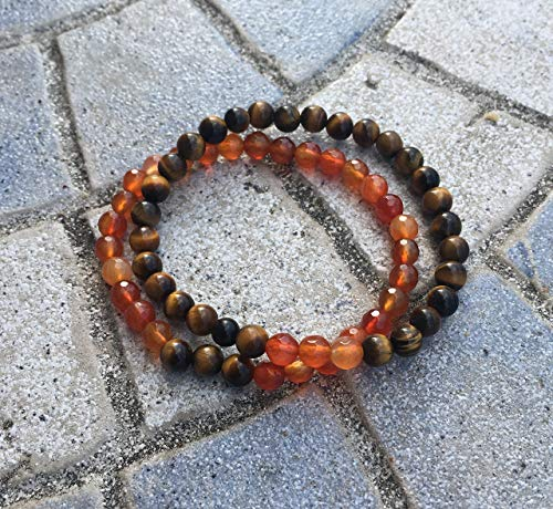 - Bracelet duo COUPLE lovers or friends protection distance healing carnelian and tiger eye beads natural stone semi-precious