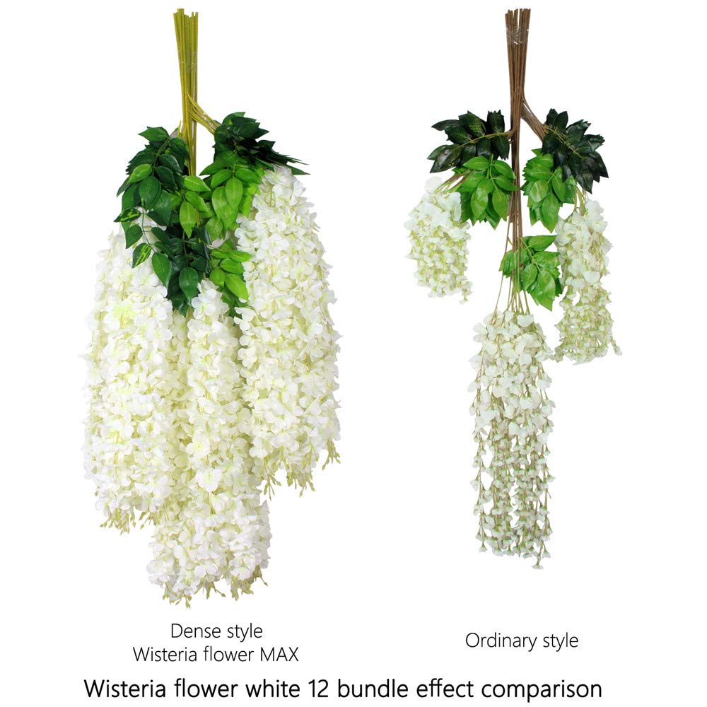 zscp Artificial Wisteria,12 Pack 3.6 Feet/Piece White Artificial Flowers Silk Wisteria Vine Ratta Silk Hanging Flower for Outdoor Wedding Ceremony Arch Party Home Garden Decor (12 pcs-Ordinary)