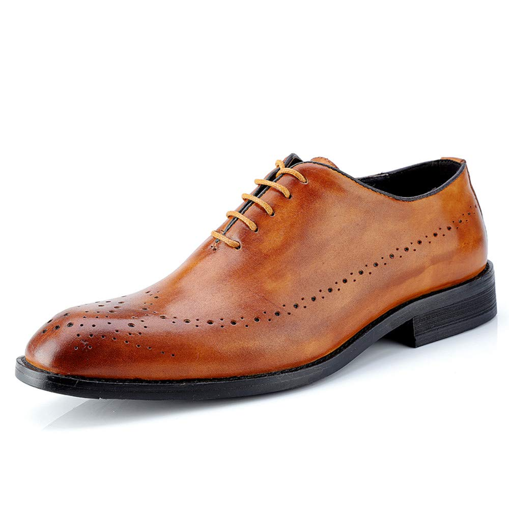Sunny&Baby Herren Leder Business Oxford Casual Echtes Leder Herren Britischen Stil Carving Gürtel Brogue Schuhe Abriebfeste (Farbe : Dunkelbraun, Größe : 36 EU) Light Braun 3c1167