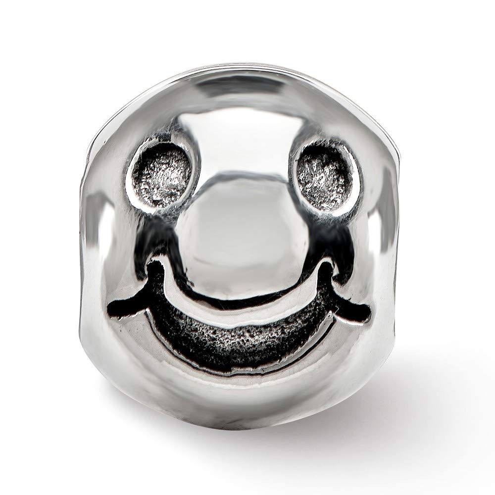 Sterling Silver Jewelry Themed Beads Solid 7.6 mm 8.7 mm Reflections Smiley Face Bead