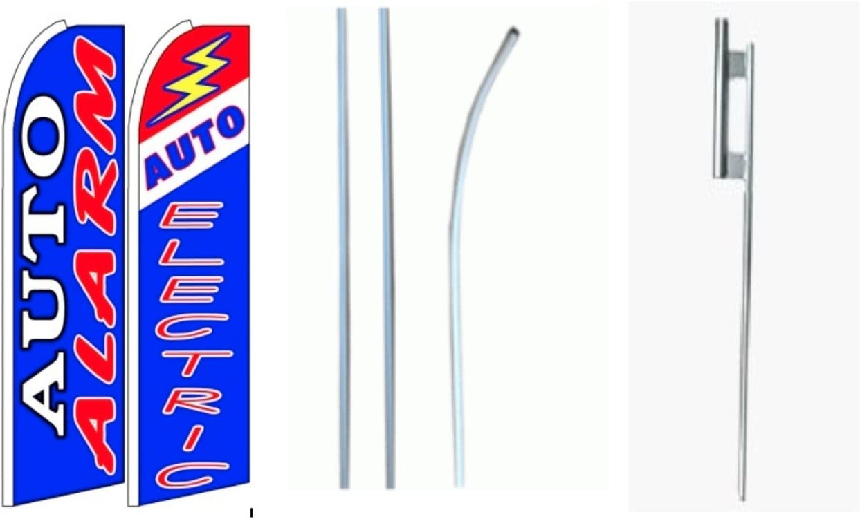 Auto Alarm// Auto Electric King Size Swooper Flag Sign with Pole and Full Assembly Pack of 2