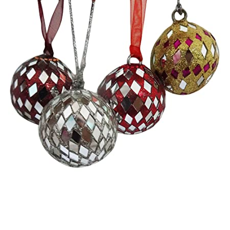 Indian Handmade Balls Ornament Home Decor Wall Hanging Ornaments Tree Topper Ribbon Christmas Gift