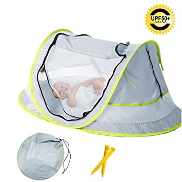 Baby Beach Tent Portable Baby Travel Bed UPF 50+ Sun Shelters for Infant   sc 1 st  Amazon.com & Amazon.com : Baby Beach Tent Portable Baby Travel Bed UPF 50+ Sun ...