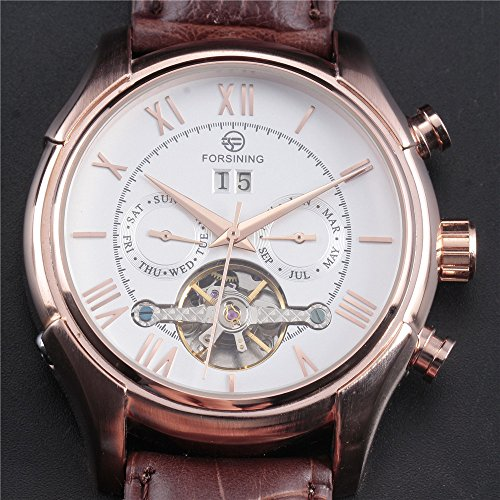 Amazon.com: Luxury Brand FORSINING New Mechanical Watch Auto Flywheel Mens Watches Genuine Leather: Watches