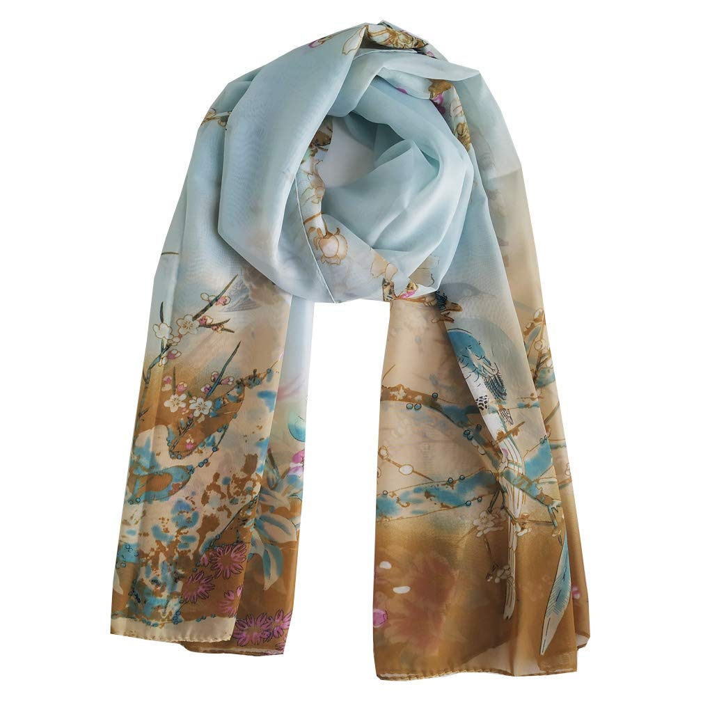 Herebuy - Unique Women's Floral Scarves: Chiffon Flowers & Birds Printed Scarf (Pale Green+Coffee) by E-Clover (Image #2)