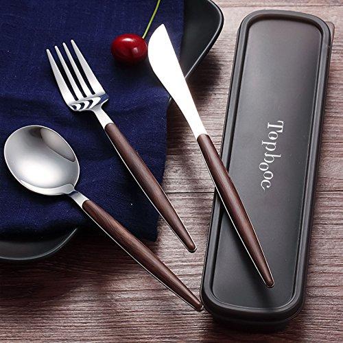 eel & Flatware Set with Wood Handle, Healthy & Eco-Friendly 3 Pieces Knife Spoon Set, Portable Travel Silverware Dinnerware Set with a Organizer box (1, Walnut) ()