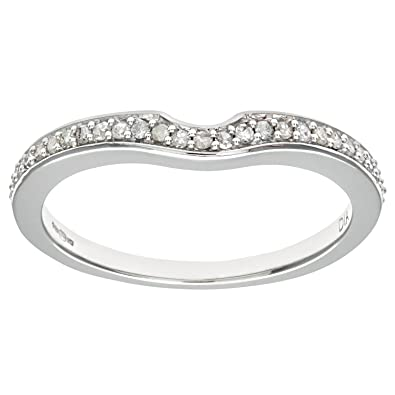 Naava Women's 9 ct White Gold Round Brilliant Cut Diamond Wishbone Eternity Ring 1GfWXzf