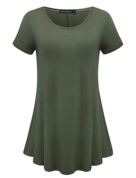 5ad725219 ZENNILO Womens Short Sleeve Loose Fit Swing Tunic Tops Basic T Shirt (Army  Green,