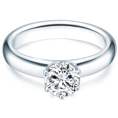 Bague femme solitaire en argent Oxyde de zirconium blanc avec diamant