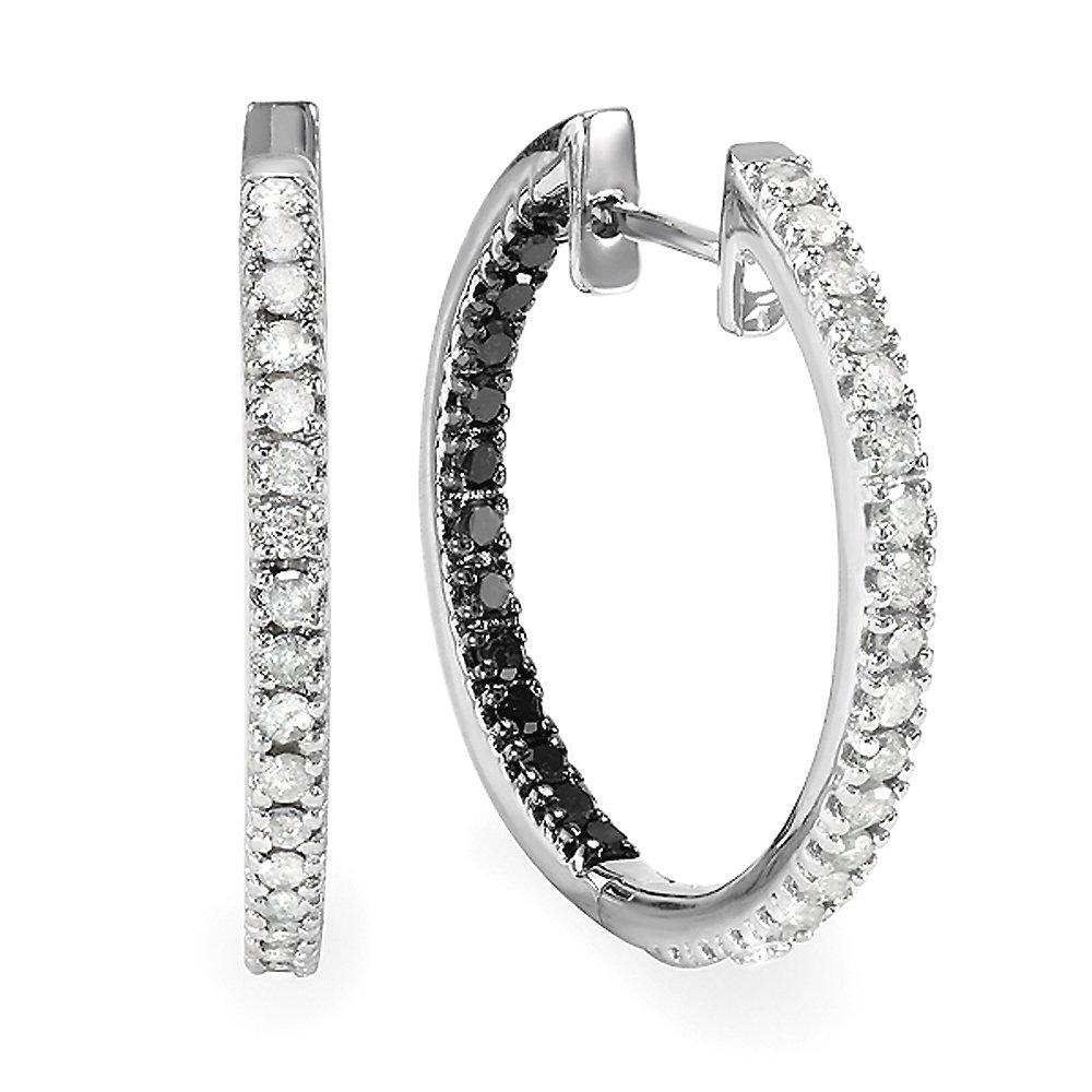 1.00 Carat (ctw) Sterling Silver Black & White Round Diamond Ladies Hoop Earrings 1 CT