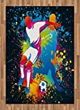 Boy's Room Area Rug by Lunarable, Artistic Composition with Two Soccer Players Ball Color Splashes Stains, Flat Woven Accent Rug for Living Room Bedroom Dining Room, 5.2 x 7.5 FT, Black Multicolor