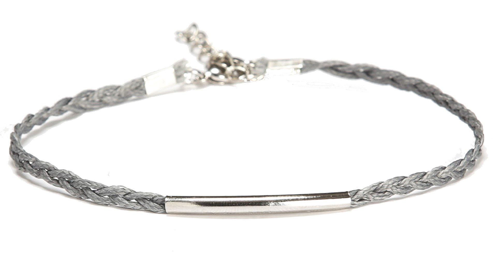 Silver bar anklet, braided cord ankle bracelet with a silver tube, gray braid. braided anklet, minimalist jewelry, gift for her, summer