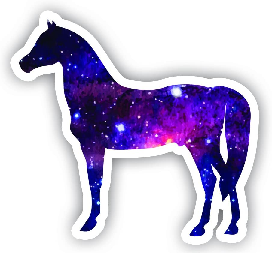 "Horse Sticker Galaxy Sticker Standing - Laptop Stickers - 2.5"" Vinyl Decal - Laptop, Phone, Tablet Vinyl Decal Sticker"