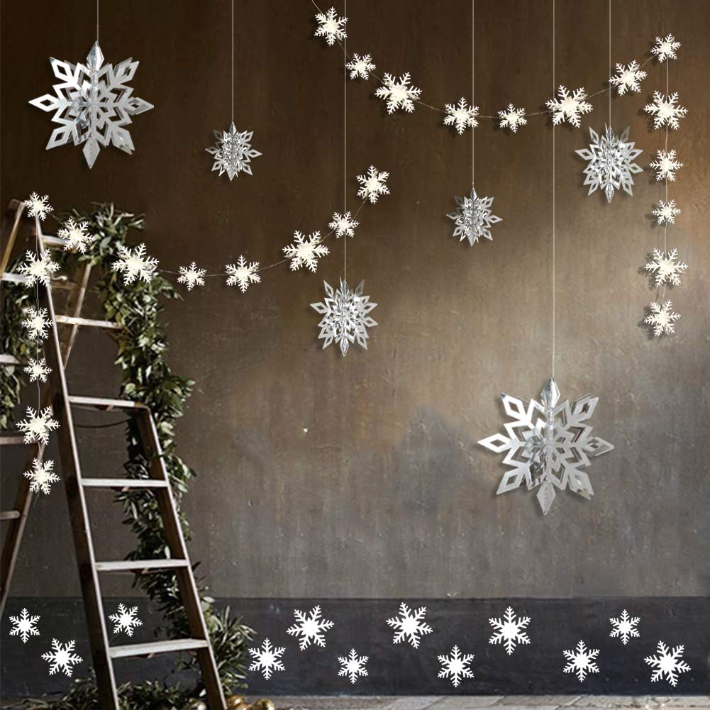 Winter Wonderland Party Decorations, 24pcs 3D Paper Snowflake Hanging Garland Decorations & 6pcs Large Snowflake Decor & Stickers Value Kit for Birthday Christmas Hanging Party Decor Supplies (Silver) by COLORFUL DECOR