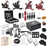 Shark® Professional Tattoo Kit 4 Machines Gun Carry Case With Key Power Supply Needles Grips Tips