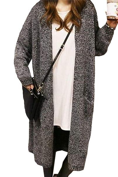 Mujer Chaqueta De Punto Otoño Invierno Largos Abrigos Elegante Tallas Grandes Fashion Especial Estilo Boyfriend Anchas Hipster Casuales Ocasional Manga ...