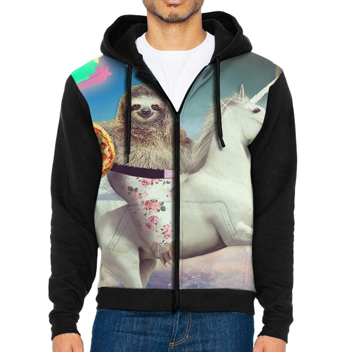 HEHE TAN Mens Pullover Hood Crazy Sloth Zip Hoodies Hooded Cool Jackets Coats