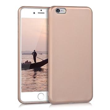 kwmobile Funda para Apple iPhone 6 Plus / 6S Plus - Carcasa para móvil en [TPU Silicona] - Protector [Trasero] en [Oro Rosa Metalizado]