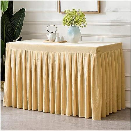TongN Personalizado Mantel Evento de reuniones de Oficina Juego de paño de Terciopelo Dorado Conjunto de Falda de Mesa de Negocios Rectangular (Color : Amarillo, Tamaño : 40 * 180 * 75cm): Amazon.es: Hogar