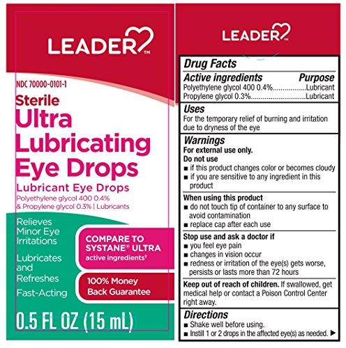 Leader Sterile Ultra Lubricating Eye Drops, 0.5 fl oz per Dropper (3 pack)