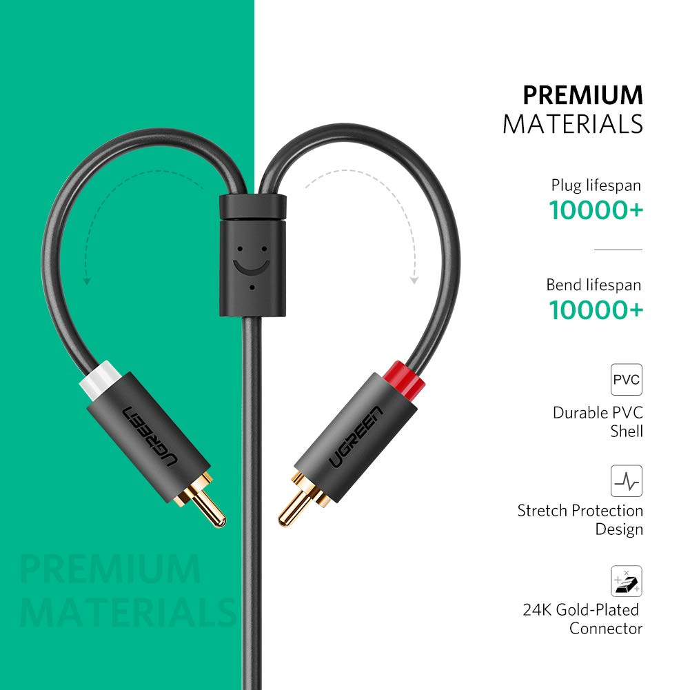 MP3 0.65FT Tablets Home Theater UGREEN 3.5mm Female to 2 RCA Male Stereo Audio Y Cable Adapter Gold Plated Compatible for Smartphones