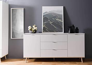 Lifestyle4living Sideboard In Weiss Kommode Mit Unterbau In Sonoma