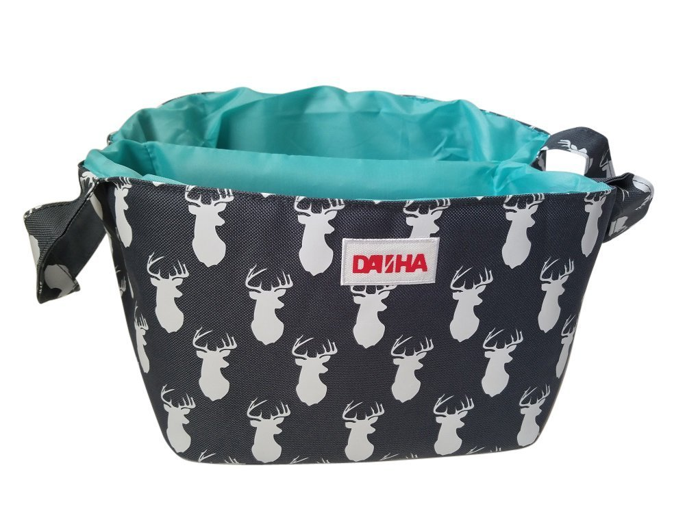 Diaper Storage Caddy By Danha - Portable Diaper Bag And Stacker With Beautiful Grey Deer Unisex Design - Changing Table Storage Basket And Nappy Caddy