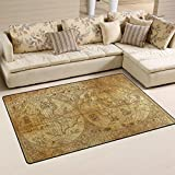 WOZO Ancient Atlas Map World Area Rug Rugs Non-Slip Floor Mat Doormats Living Room Bedroom 60 x 39 inches Review