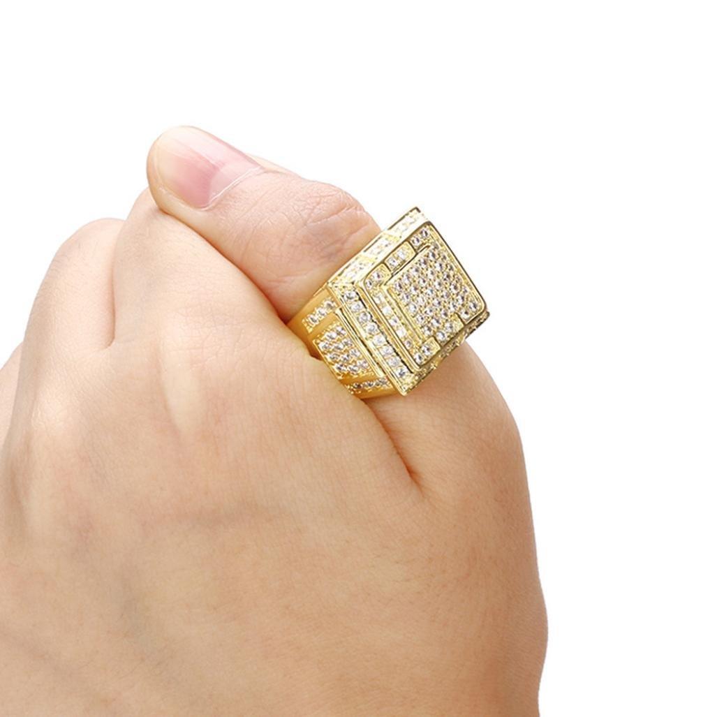 Saingace(TM) Alloy Jewelry Ring for Mens Male Diamond Insert Business Ring Birthday Present - Gold (12, Gold)