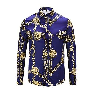 CHENS Camisa/Camisetas/Casual/Camisa de Primavera para Hombre, Color púrpura, Camisa de Manga Larga con Estampado Phnom Penh, para Hombre Ropa de Hombre: Amazon.es: Deportes y aire libre