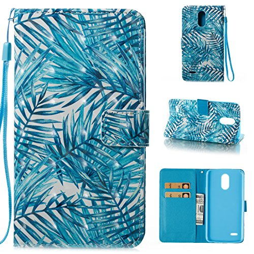Palm Leather Case Handheld - ARSUE LG Stylo 3 Case, LG Stylo 3 Plus Case, Hybrid Flip Folio PU Leather Wallet Case with Kickstand and ID&Credit Card Pockets Cover for LG Stylo 3 / LG Stylo 3 Plus / LS777 - Palm Leaves