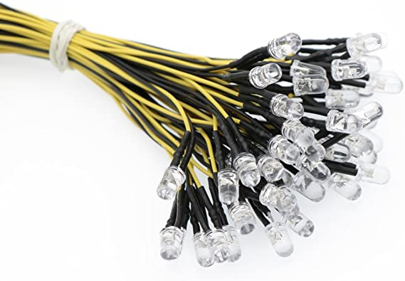 50x yellow 5mm leds pre wired 12v 5000mcd