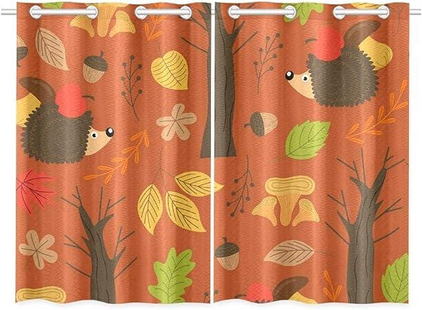 Jincaii Autumn Hedgehog Kitchen Curtains Window Curtain Tiers For Café Bath Laundry Living Room Bedroom 26 X 39 Inch 2 Pieces Amazon Co Uk Kitchen Home