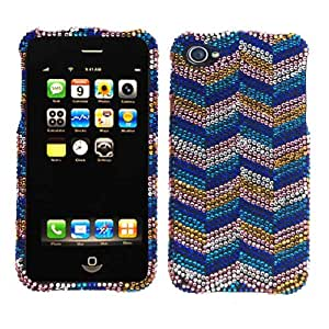 Cell Armor iPhone 5C Snap - On Case - Retail Packaging - Full Diamond Crystal Blue Yellow Chevron