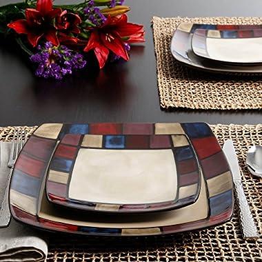 Gibson Soho Lounge Mosaic 16-Piece Dinnerware Set, Made of Stoneware Dishwasher-safe