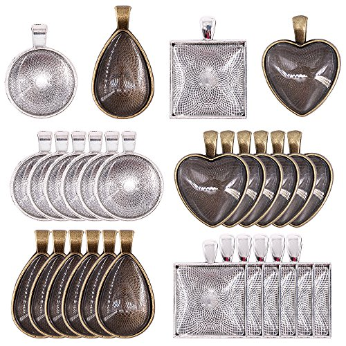 Glarks 48-Pieces 4 Styles Pendant Trays 24pcs Round & Square & Heart & Teardrop and 24pcs Bright Glass Cabochon Dome Tiles for Crafting DIY Jewelry Gift Making by Glarks