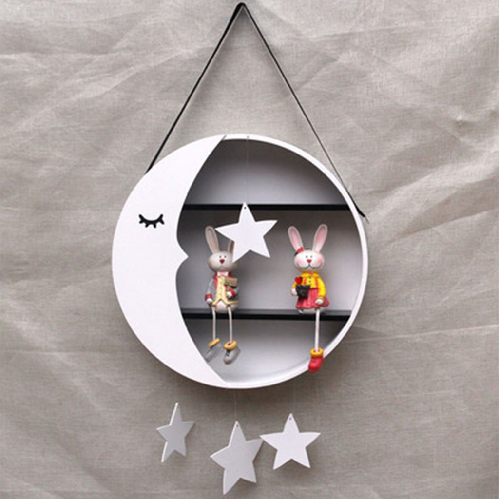 WLWWY Lovely Circular Moon-Shaped Wall Storage Shelf Children's Room Wall Shelf Display Hanging Shelf Room Decor,White