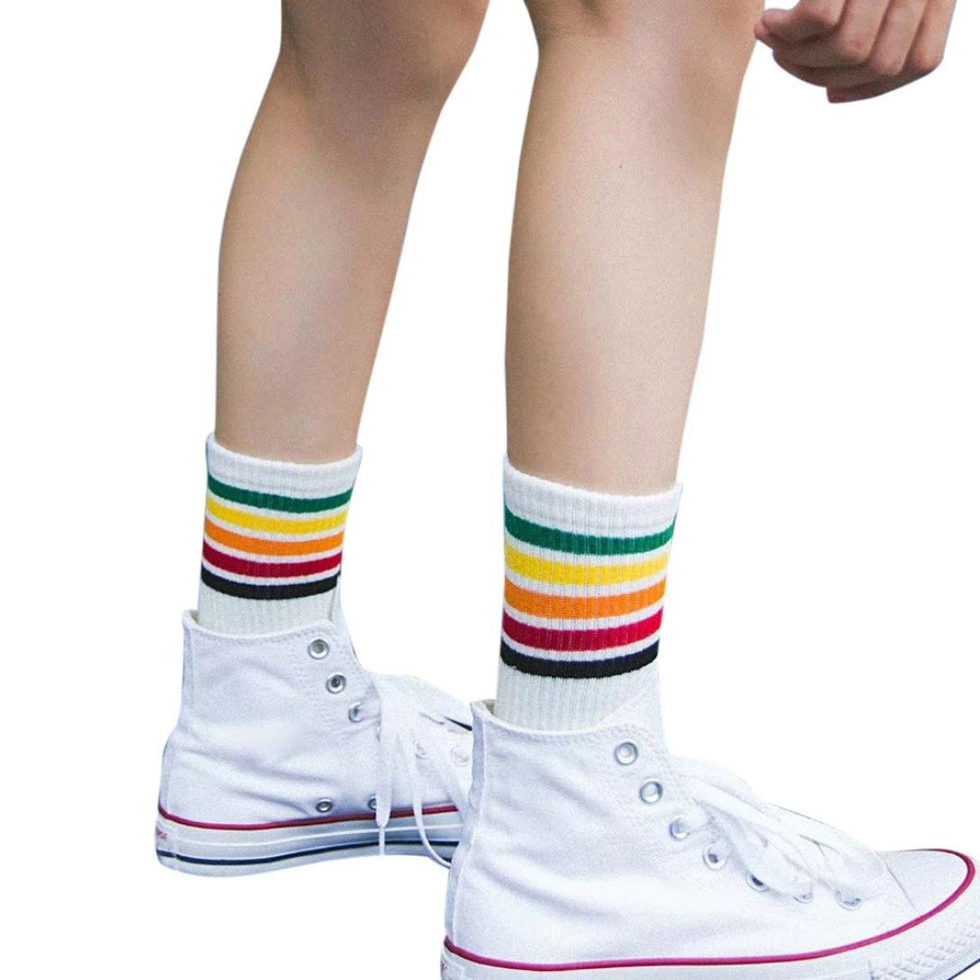 Socks,toraway Girls Fashion Casual Rainbow Stripe Warm Cotton Soft Socks (White)