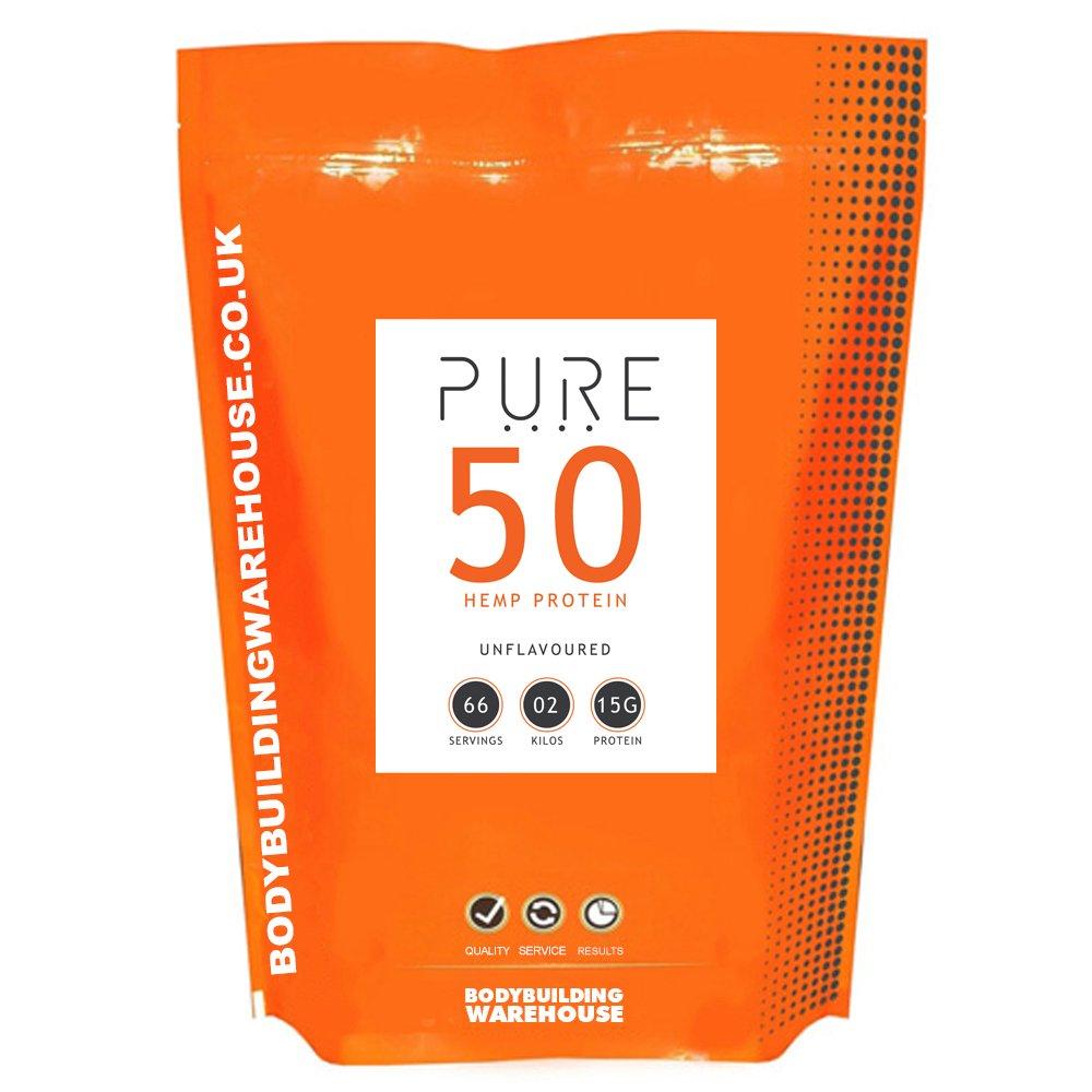 Bodybuilding Warehouse Pure Hemp Protein 50 Powder Unflavoured 2 kg by Bodybuilding Warehouse