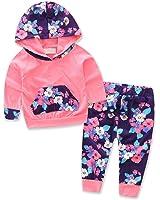 Ropa Bebé, Amlaiworld Bebé Niñas con capucha floral Tops + pantalón trajes ropa conjunto 0-24 Mes