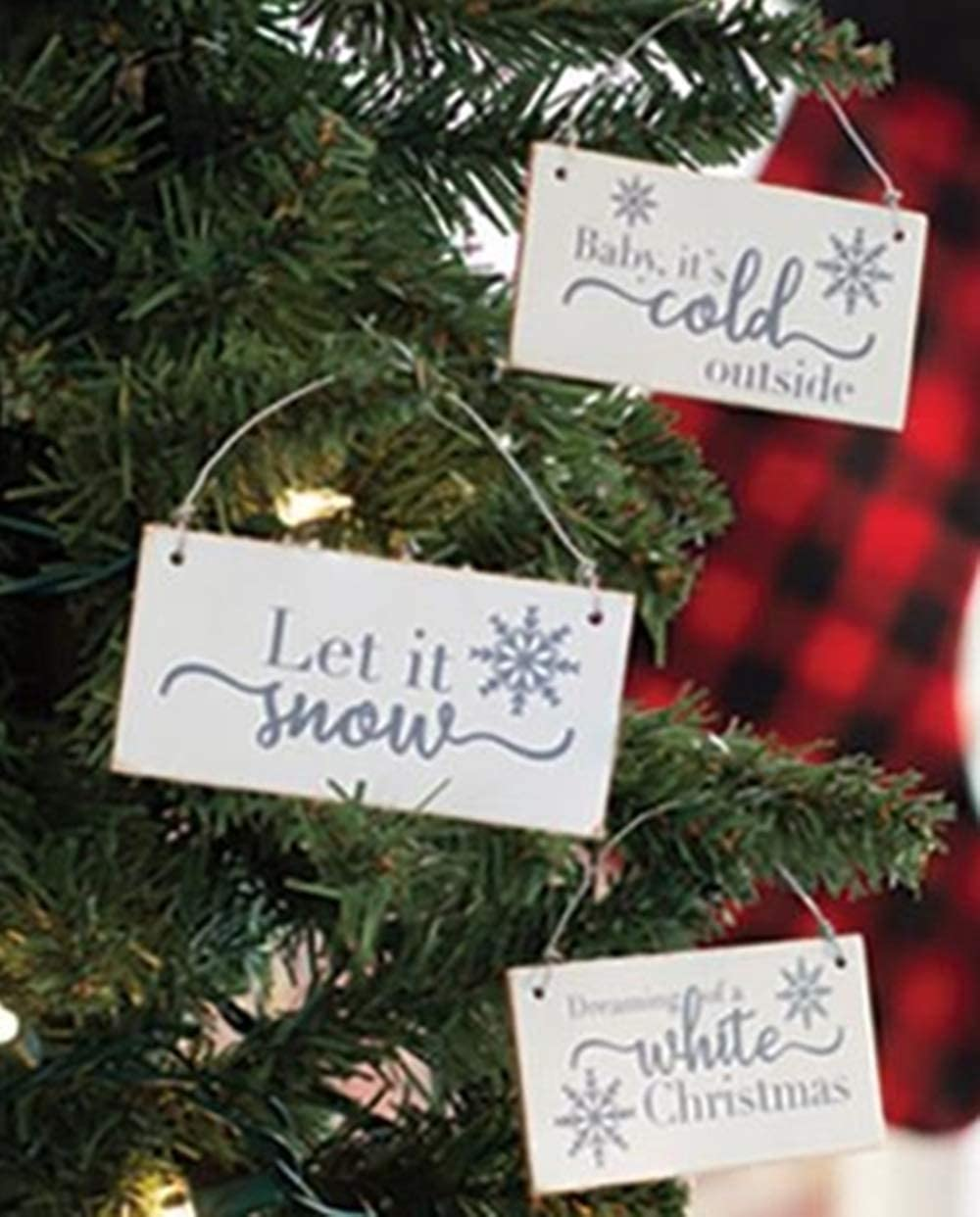 HAPPY DEALS ~ Set of 3 | White Wooden Ornaments | Let it Snow, Baby It's Cold Outside, Dreaming of a White Christmas | Farmhouse Country Decor Ornaments 3.5 x 1.75 inch