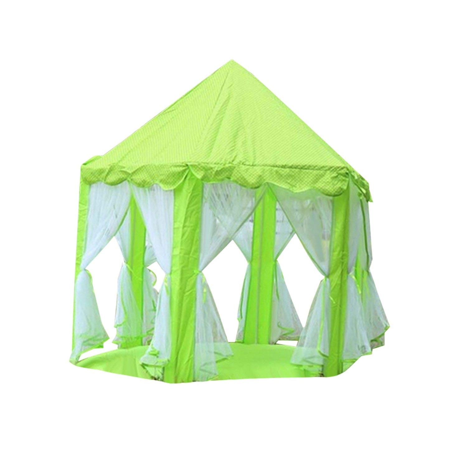 Princess Castle Mosquito Net Game Tents Outdoor Camping Children's Game House Kids Girl Portable Tent Playing Beach Park Garden,Green