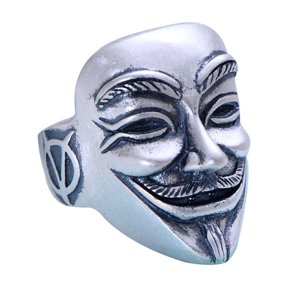 Anillo de Máscara V for Vendetta de plata de ley 925 vintage para hombres mujeres tamaño ajustable 18-25 ForFox A055677