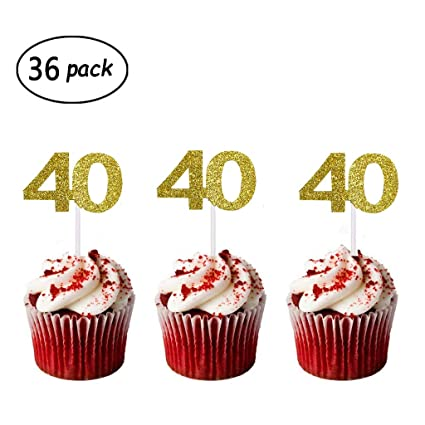 Cake Toppers 12 PCS JeVenis 40th Birthday Topper Hello 40 Wedding