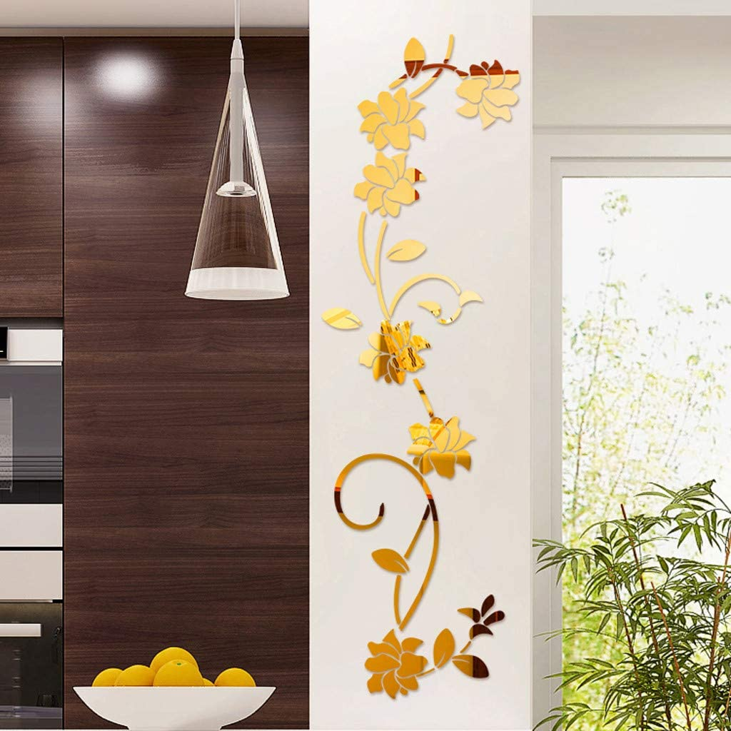 Flower Shape Decal 3D Floral Mural Mirror Wall Stickers Home Decor