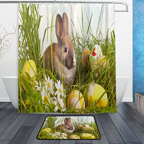 ALAZA Happy Easter Cute Bunny Egg Waterproof Polyester Fabri